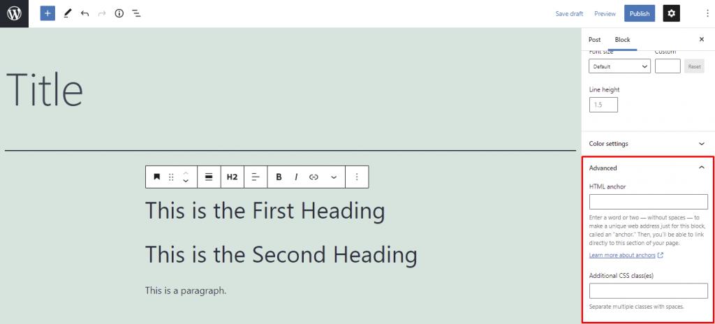 Gutenberg's advanced menu.
