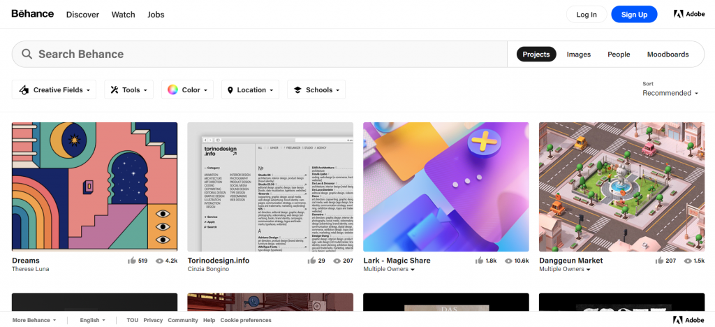 The homepage of behance.net.