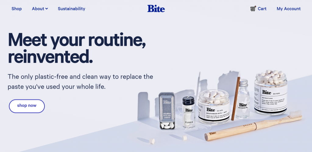 Bite site's front page.