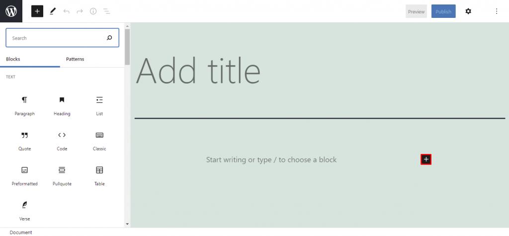 Gutenberg block elements.