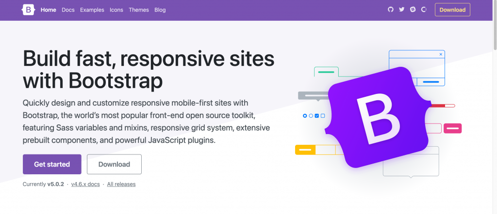 The homepage of Bootstrap, the open-source web development framework.