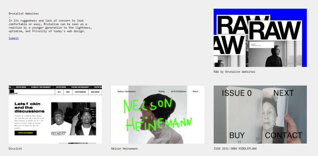 The homepage of Brutalist.