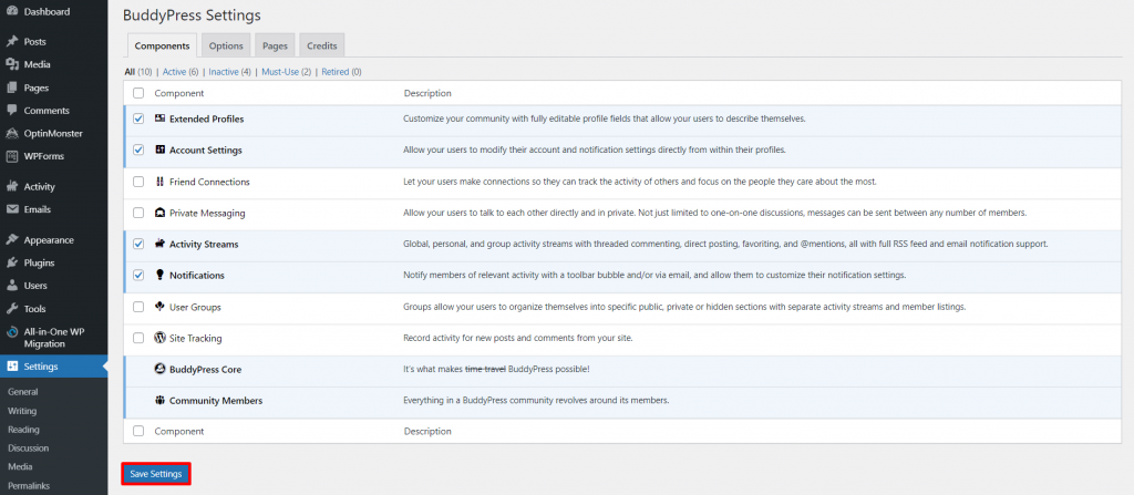 BuddyPress Components settings
