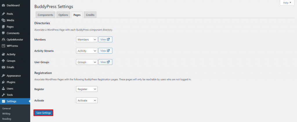 BuddyPress pages settings