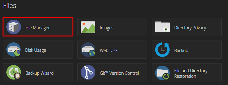 Screenshot from cPanel showing where to find the File Manager.