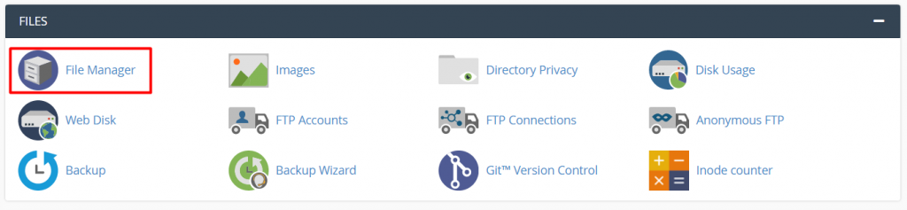 Accessing the File Manager on cPanel.