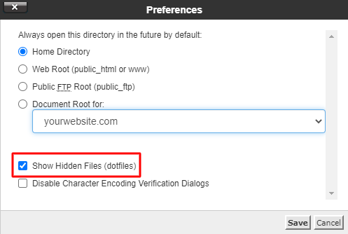 Screenshot from the cPanel's preferences showing where to click to enable the show hidden files (dotfiles) option.