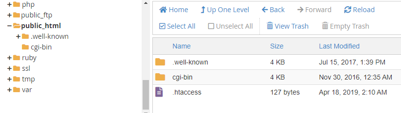 Screenshot from cPanel showing where to find .htaccess.