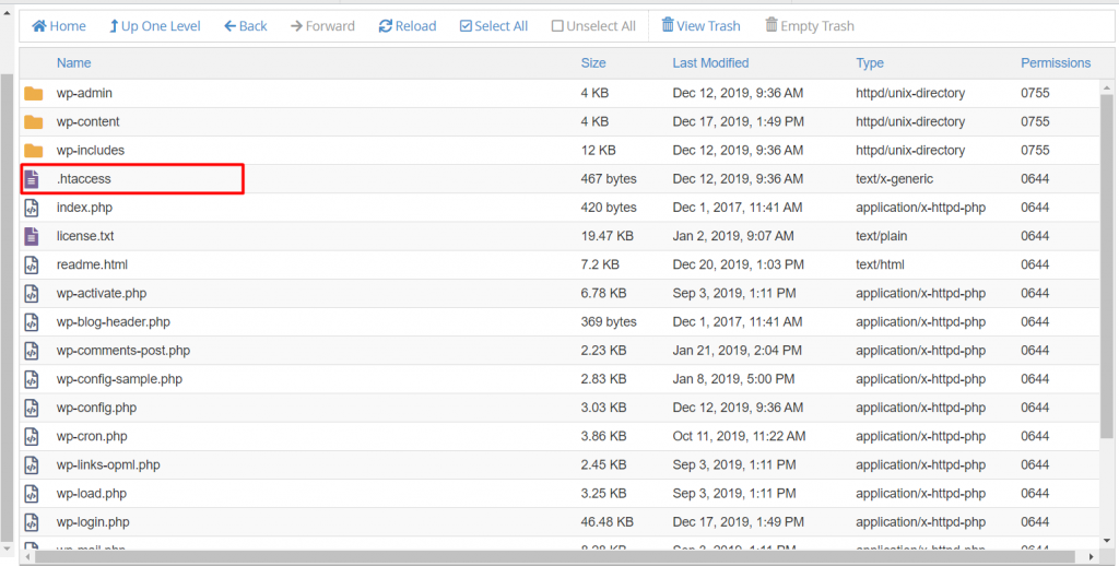 .htaccess on cPanel's File Manager.