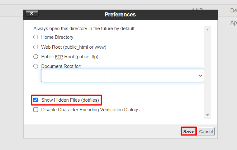 Enabling the showing of hidden files on cPanel.