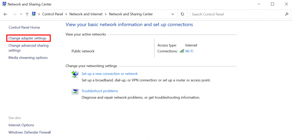 Changing adapter settings on Windows.