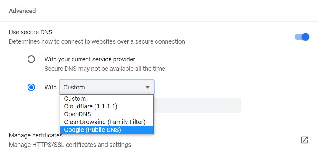 Modifying DNS settings on Google Chrome.