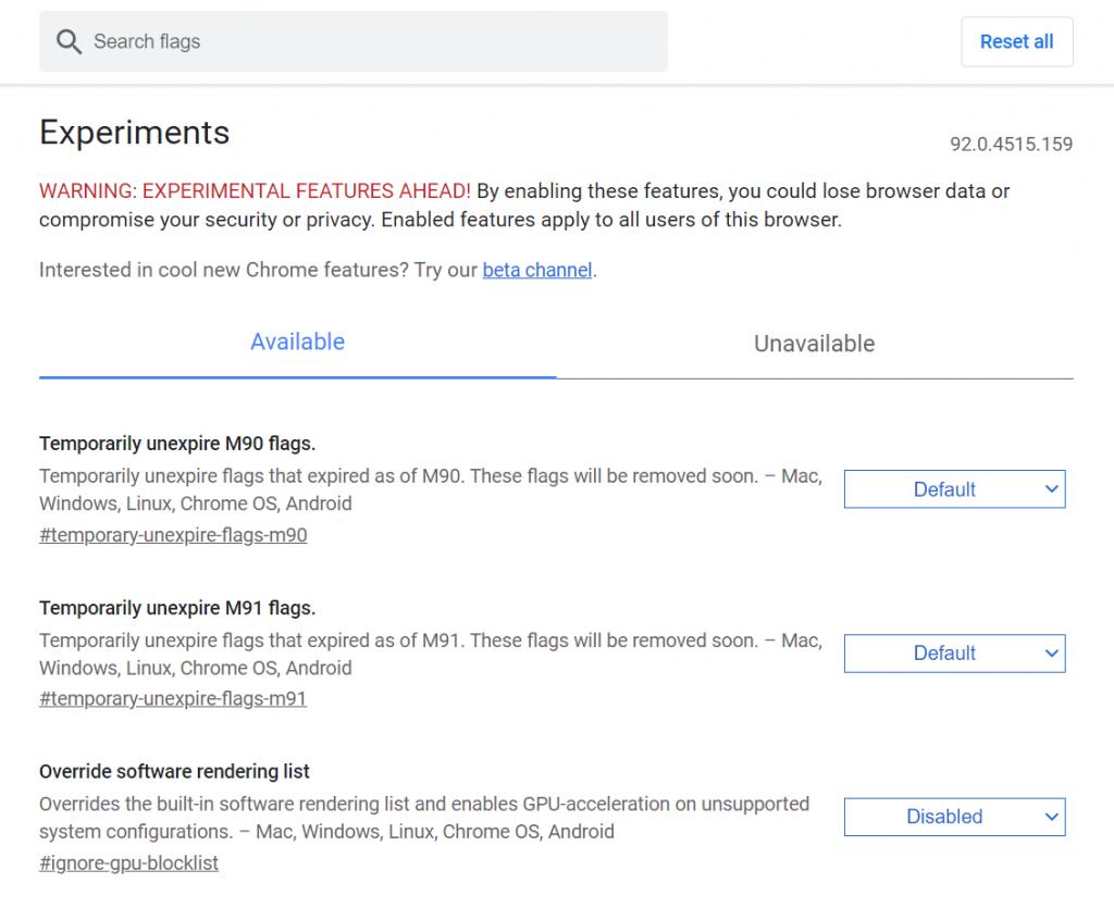 Modifying the Chrome Flags.