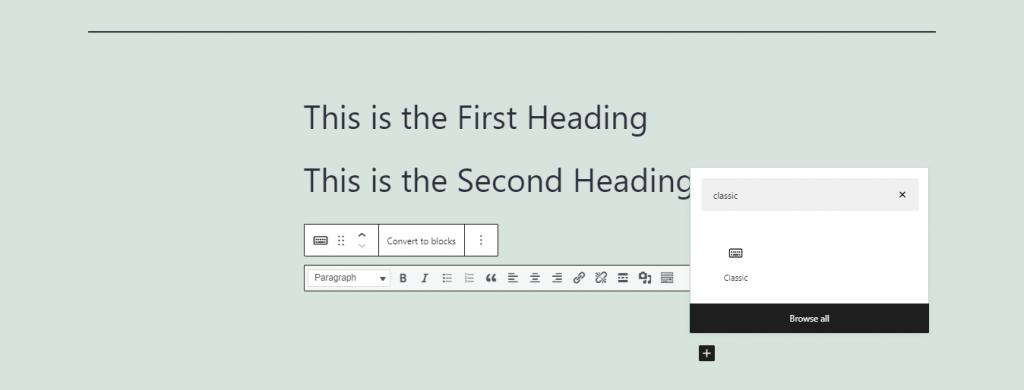 Classic editor option.