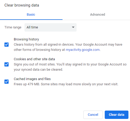 Clear browsing data settings - choose time range, browsing history, cookies and other site data and cached images and files,