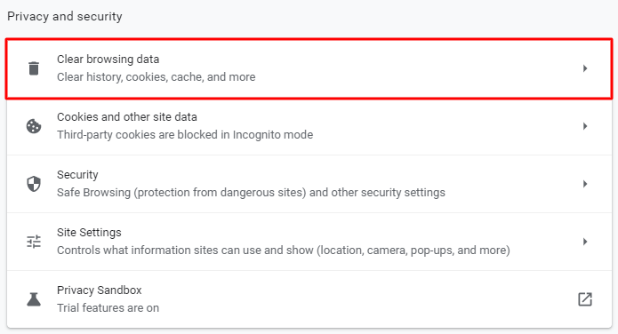Screenshot from the Google Chrome's privacy and security settings showing where to click to clear browsing data.