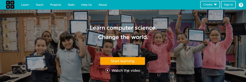 Code.org homepage.