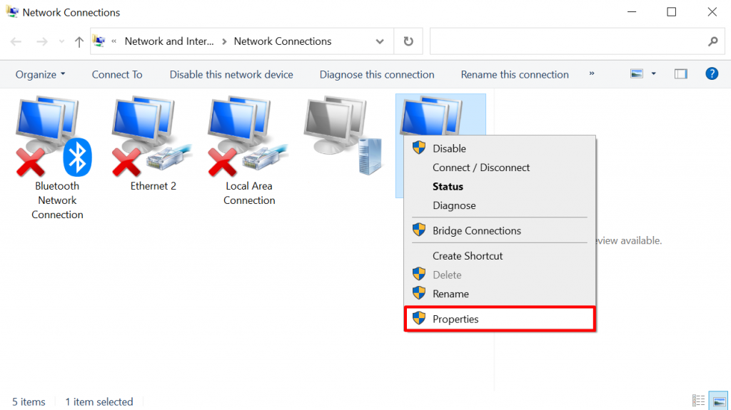 Accessing current connection properties on Windows.