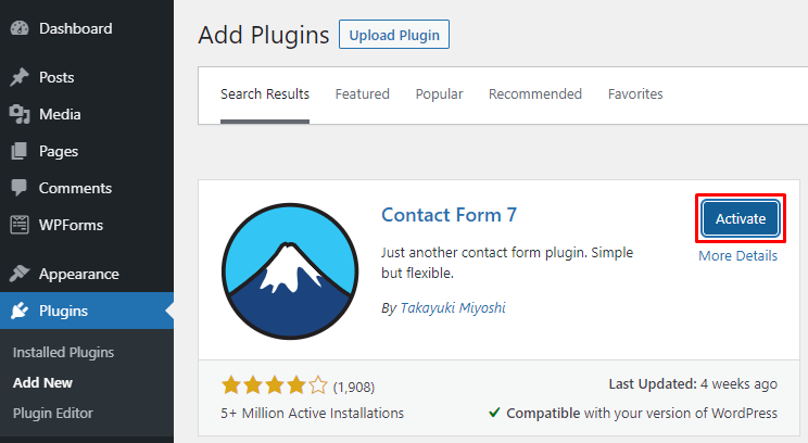 Activating the Contact Form 7 plugin on WordPress.