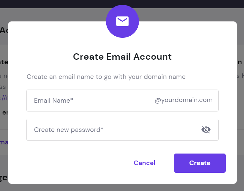 Create email account form.