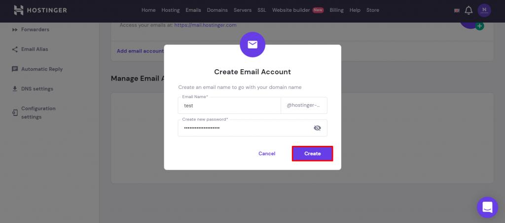 Create email account window