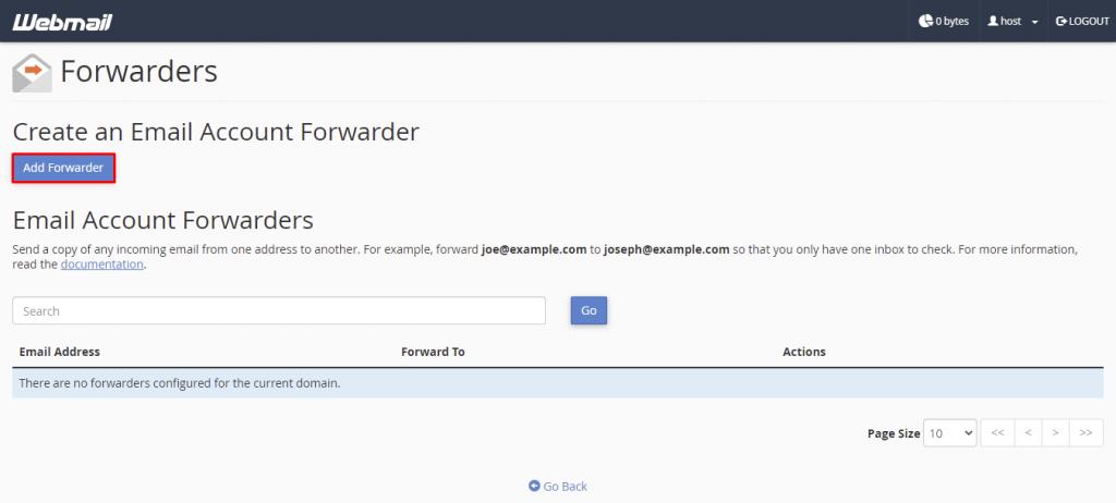 Forwarders, highlighting Add Forwarder