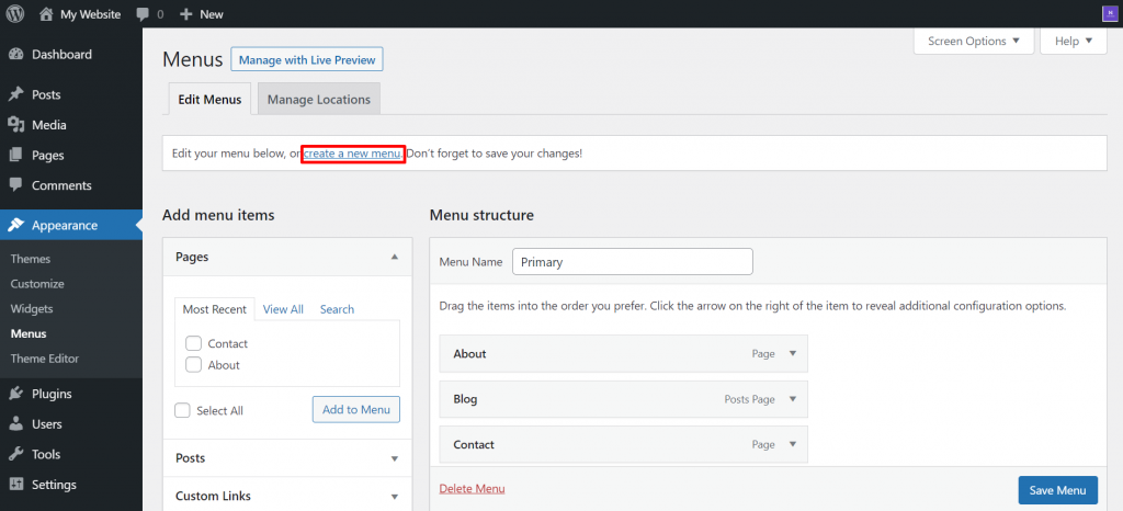 The first step of creating a new menu on WordPress.