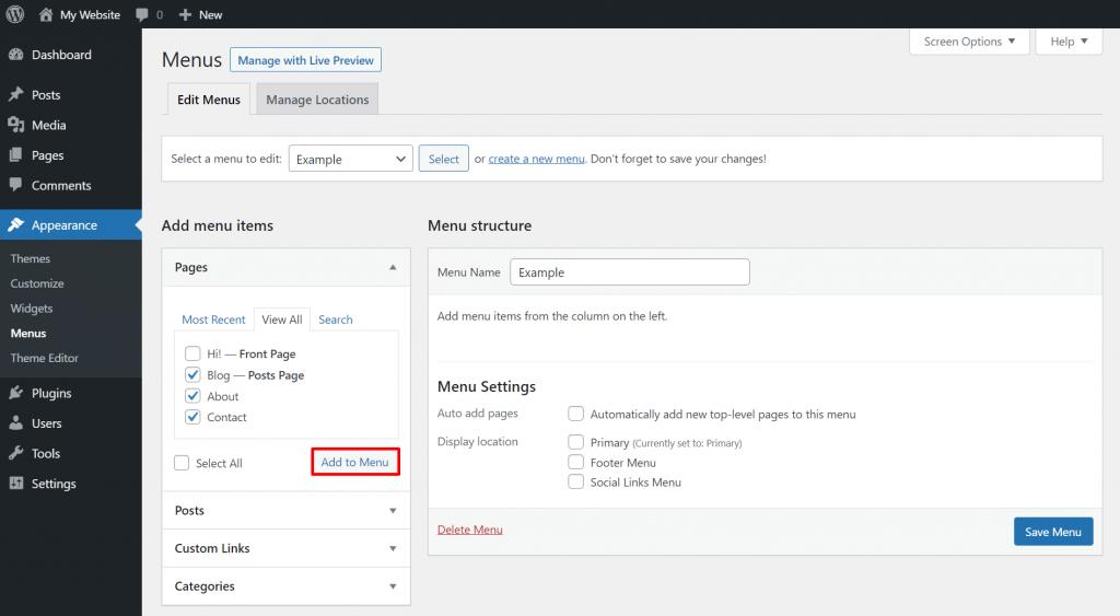 Adding menu items to a custom menu on WordPress.