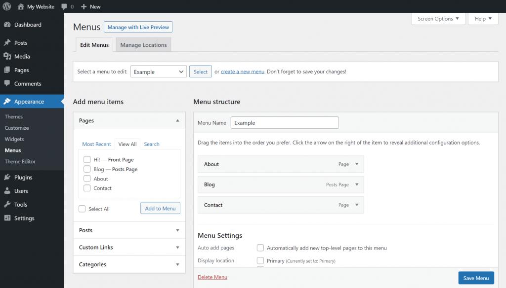 Rearranging a custom menu on WordPress.