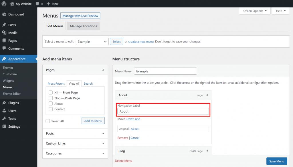 Renaming custom menu items on WordPress.