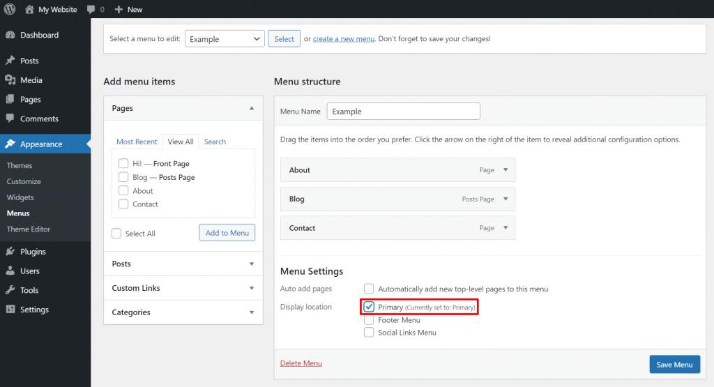 Choosing the display location of a custom menu on WordPress.