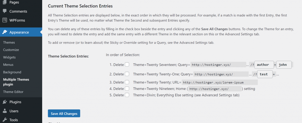 A screenshot from the Multiple Themes plugin's settings showing current theme selection entries.