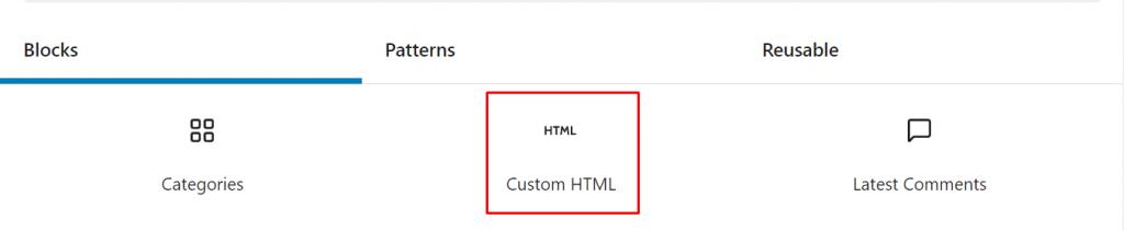 Custom HTML block.