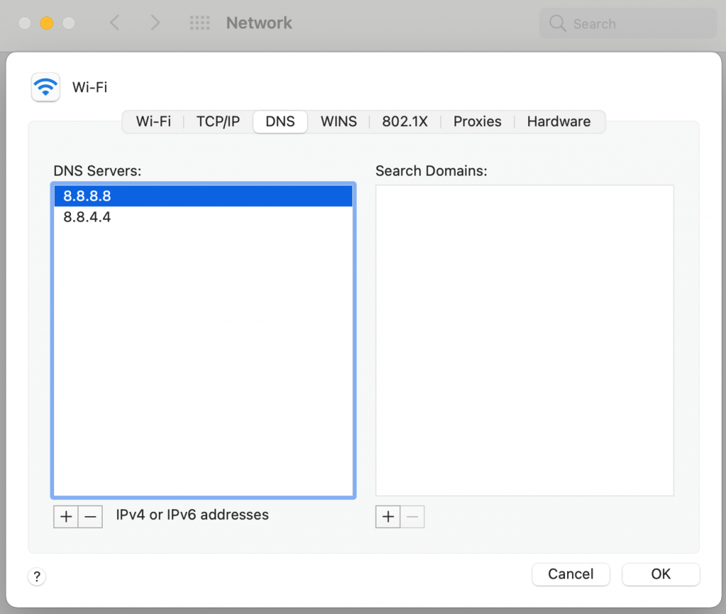 Modifying DNS settings on macOS.