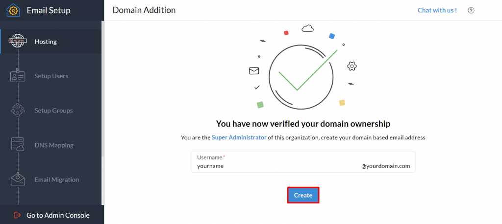 Domain addition on Zoho Mail.