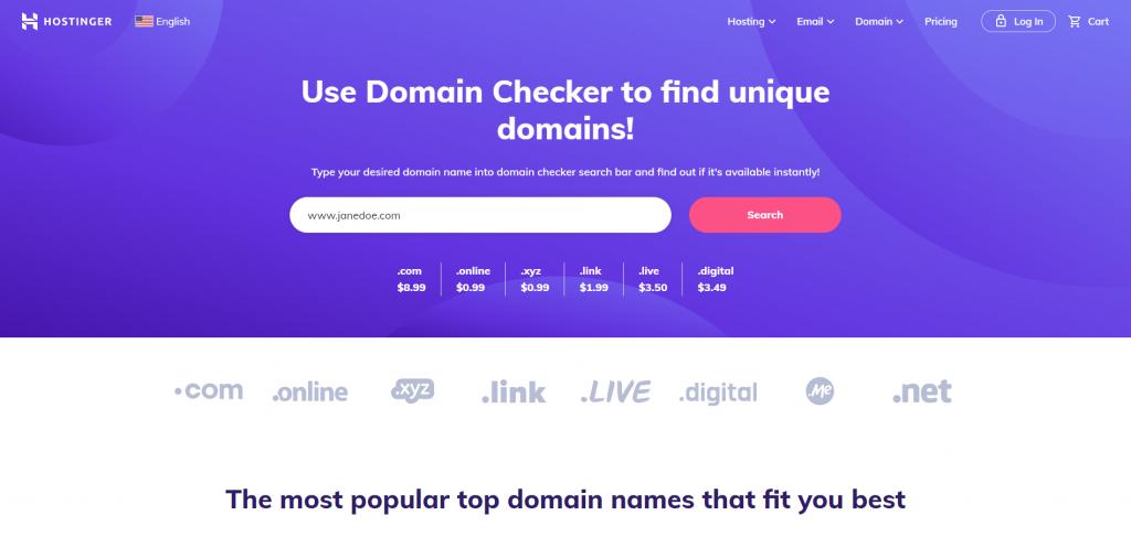 Hostinger's Domain Checker.