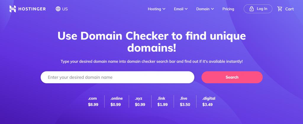Hostinger Domain Checker.