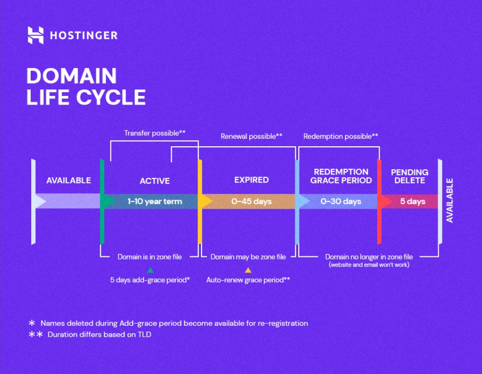 The life cycle of a domain.
