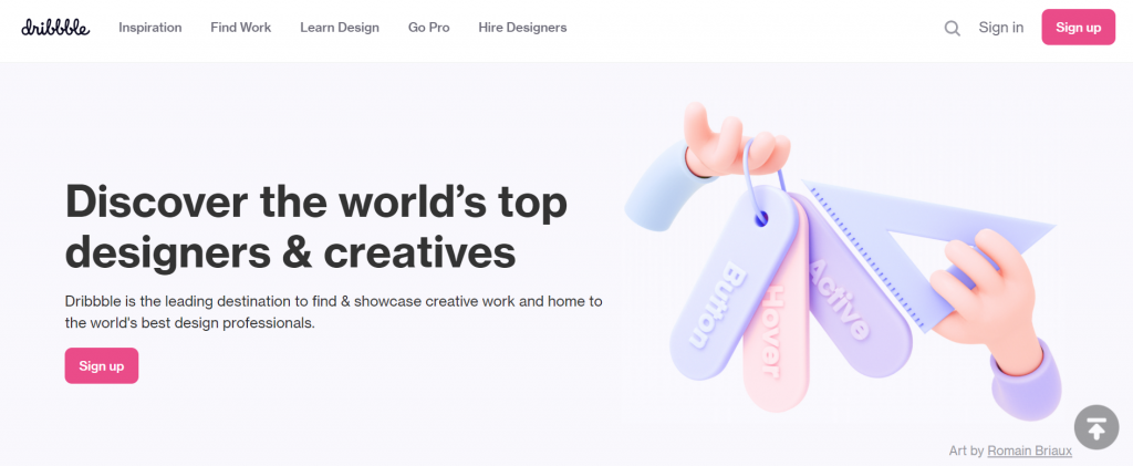The homepage of Dribbble.