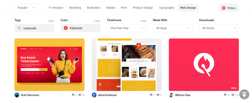 Search filters on Dribbble.