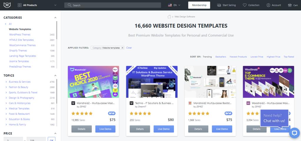 Screenshot showing different website design themes,