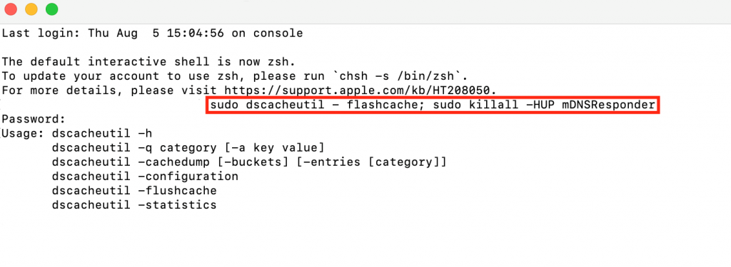 Flushing the DNS records on macOS.