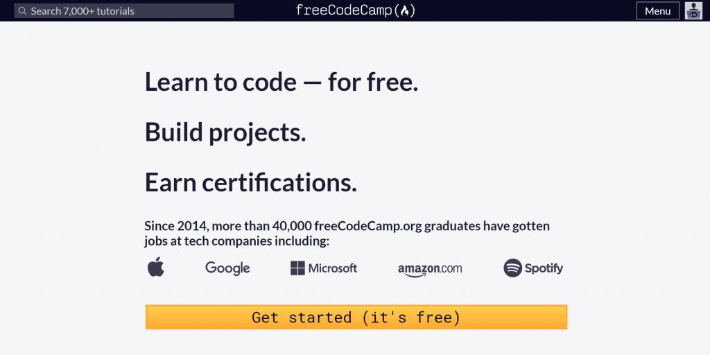 freeCodeCamp homepage.