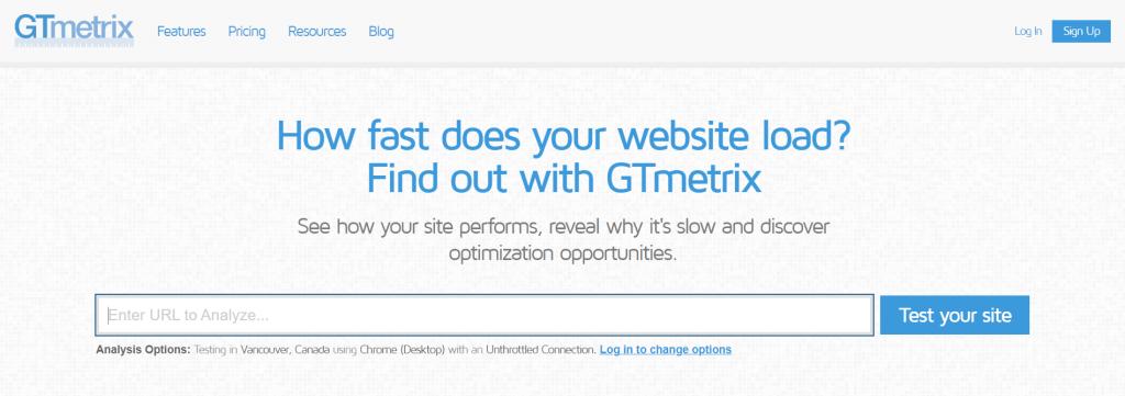GTMetrix homepage.