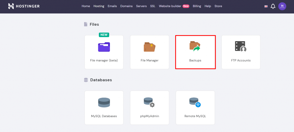 hPanel menu showing where to find backups.