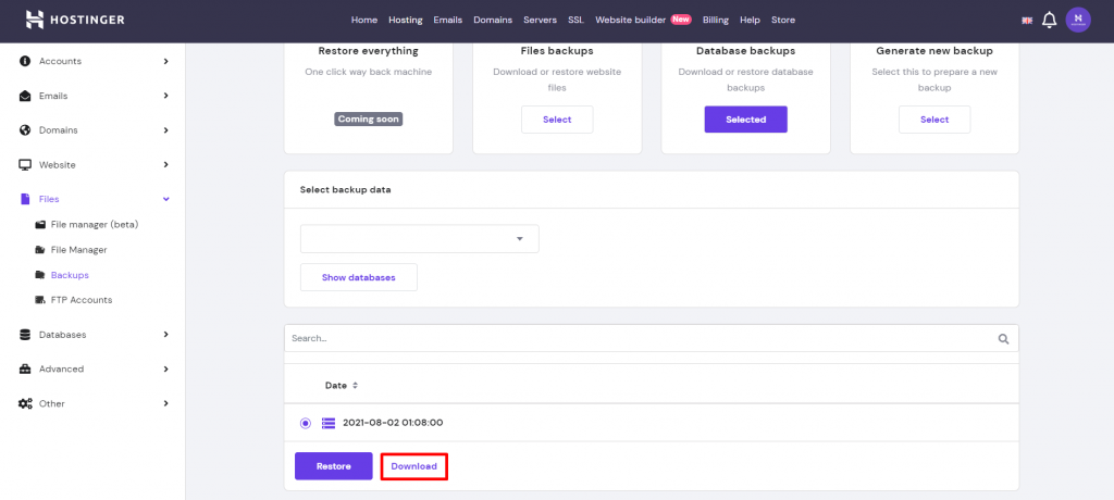 Screenshot from hPanel showing the most recent backup and where to click on the Download button.