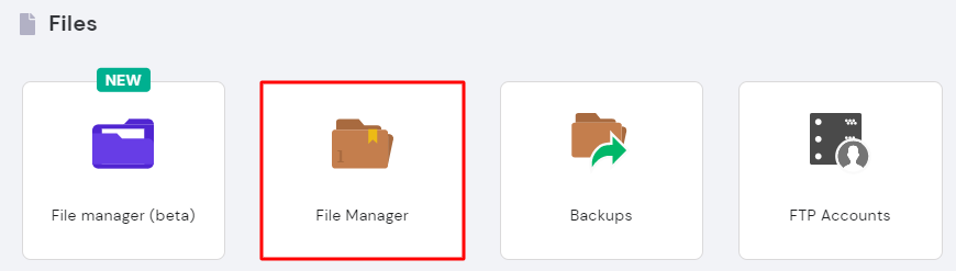Screenshot from hPanel showing where to find the File Manager .