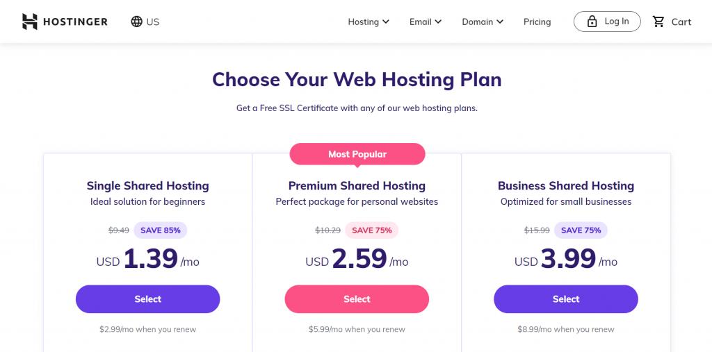 Shared hosting plans at Hostinger.