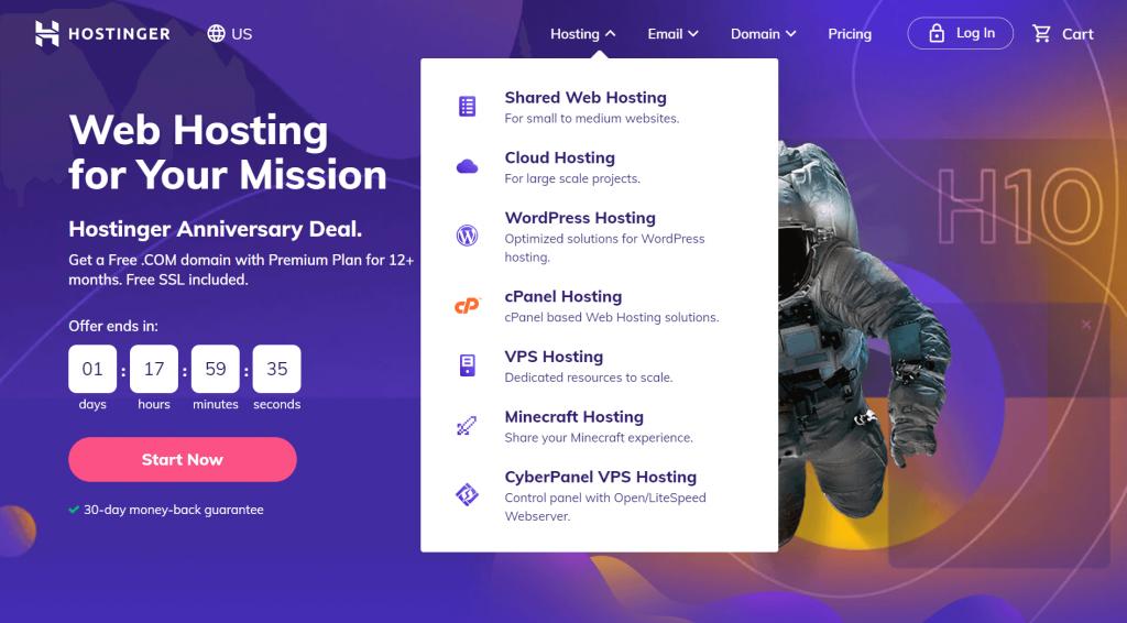 Types of hosting available at Hostinger.