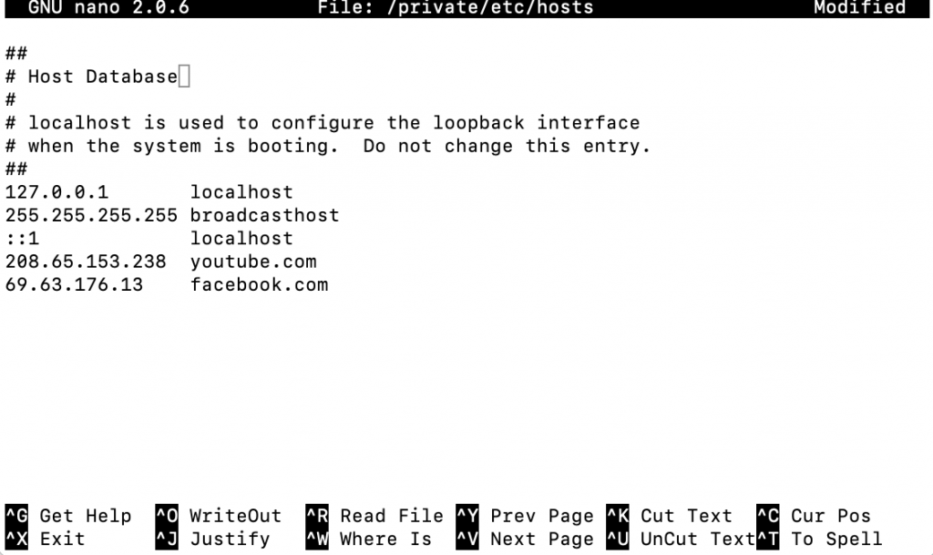 The hosts file on macOS.